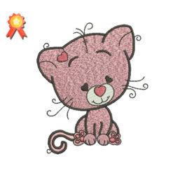 Cute Cat Machine Embroidery Design