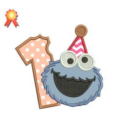 First birthday Cookie Monster Machine Embroidery Design