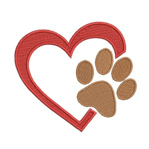 Paw With Heart Machine Embroidery Design