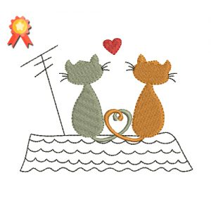 Two Cats On A Roof Machine Embroidery Design