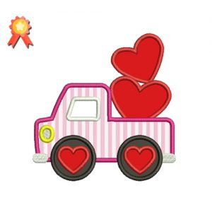 Valentine Truck Machine Embroidery Design