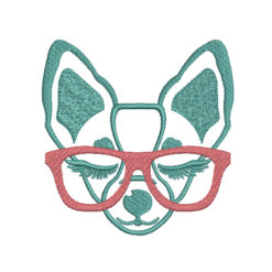 Dog With Glasses Machine Embroidery Design