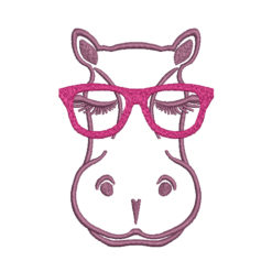 Hippo With Glasses Machine Embroidery Design
