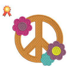 Peace Sign With Flowers Machine Embroidery Design