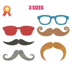 Glasses and mustaches Machine Embroidery Design