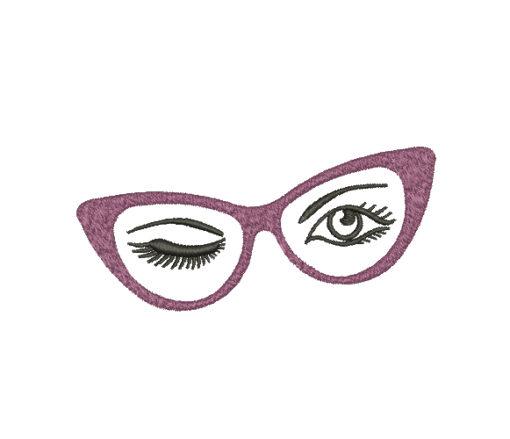 Retro Glasses Machine Embroidery Design