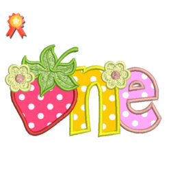Strawberry One Birthday Machine Embroidery Design