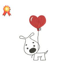 Dog Love Heart Machine Embroidery Design