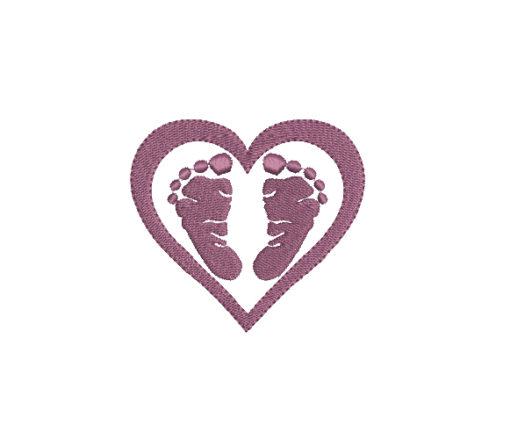 Heart Feet Machine Embroidery Design