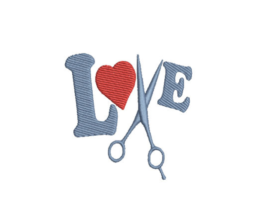 I Love Scissors Machine Embroidery Design