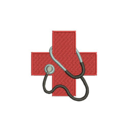 Red Cross Stethoscope Machine Embroidery Design