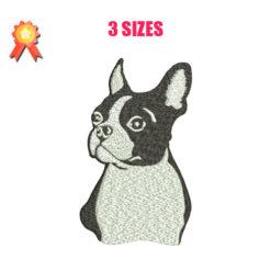 Boston Terrier Machine Embroidery Design