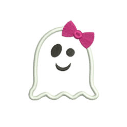 Ghost with bow Halloween Machine Embroidery Design