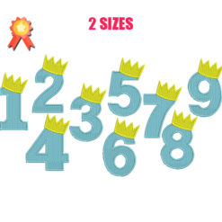 Crown Numbers Machine Embroidery Design