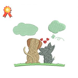 Dog And Kitten In Love Machine Embroidery Design