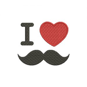I Love Mustache Machine Embroidery Design
