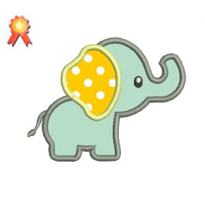 Baby Elephant Applique Machine Embroidery Design