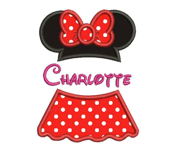 Minnie Mouse Machine Embroidery custom Design.