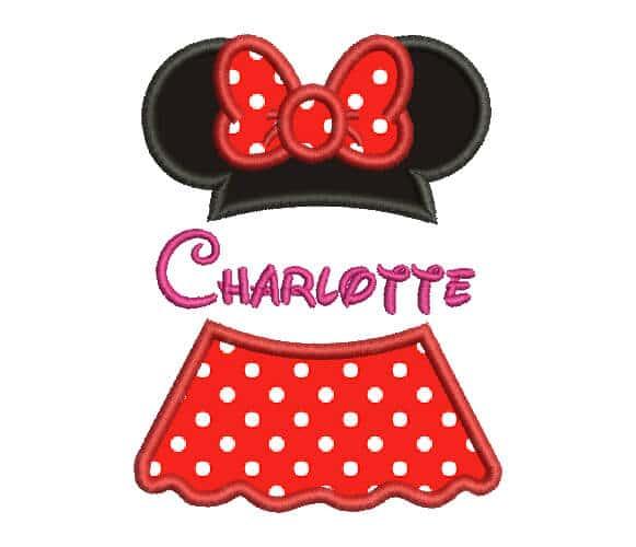 Minnie Mouse Machine Embroidery custom Design.