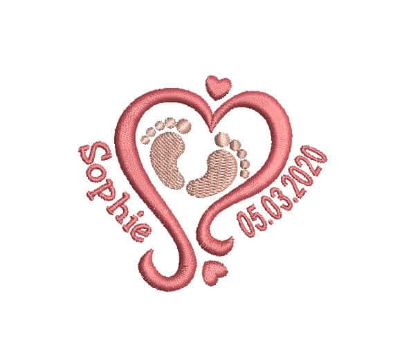 Birth Announcement Machine Embroidery custom Design.
