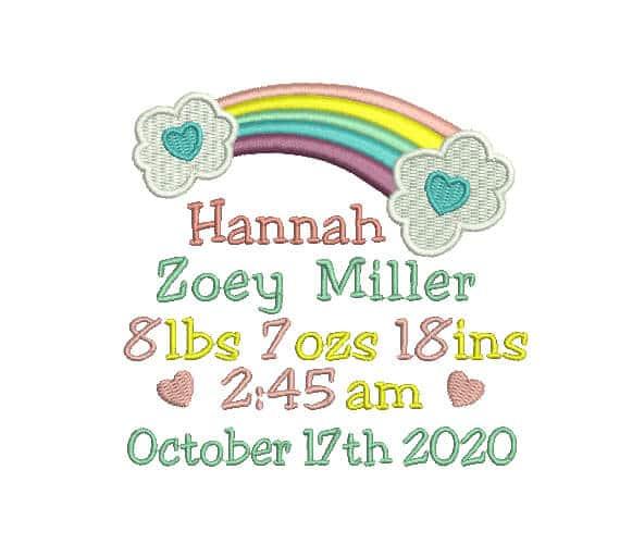 Birth announcement - Rainbow Birth Announcement - boy Machine Embroidery custom Design