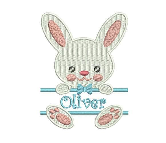 Bunny Boy applique, machine embroidery custom design
