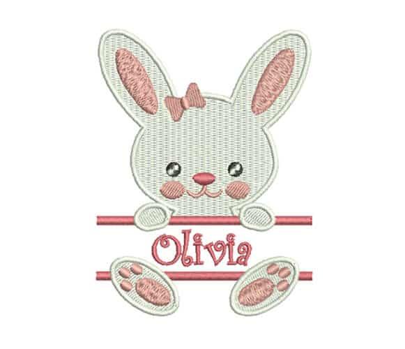 Bunny Girl applique, machine embroidery custom design