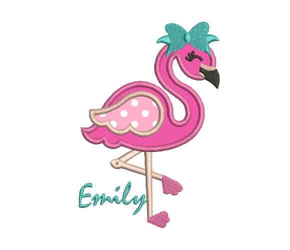 Flamingo applique machine embroidery design