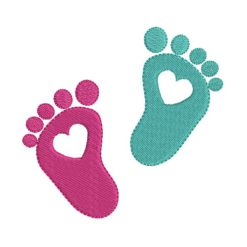 Foot Print Heart Machine Embroidery Design