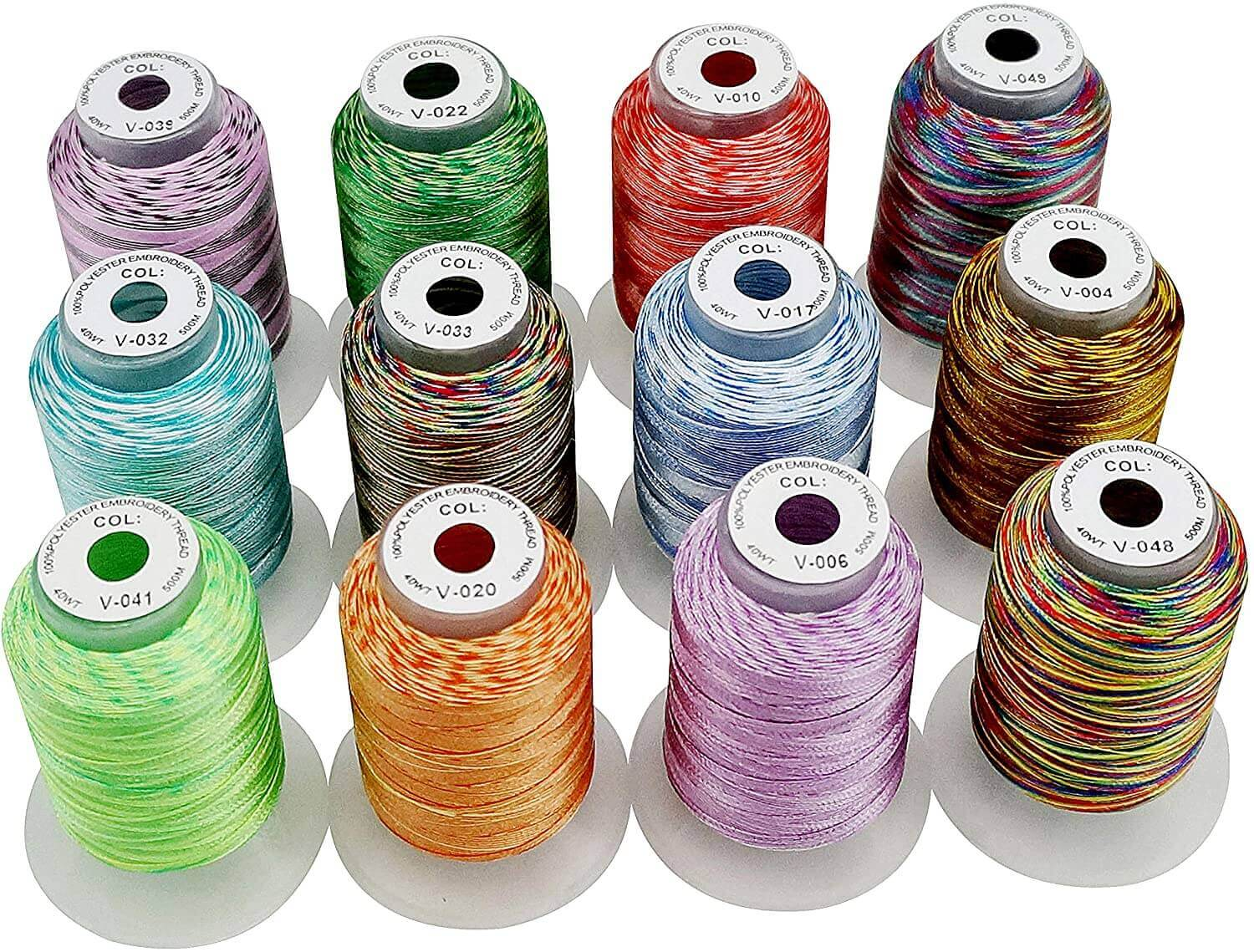New brothread 12 Colors Variegated Polyester Machine Embroidery Thread