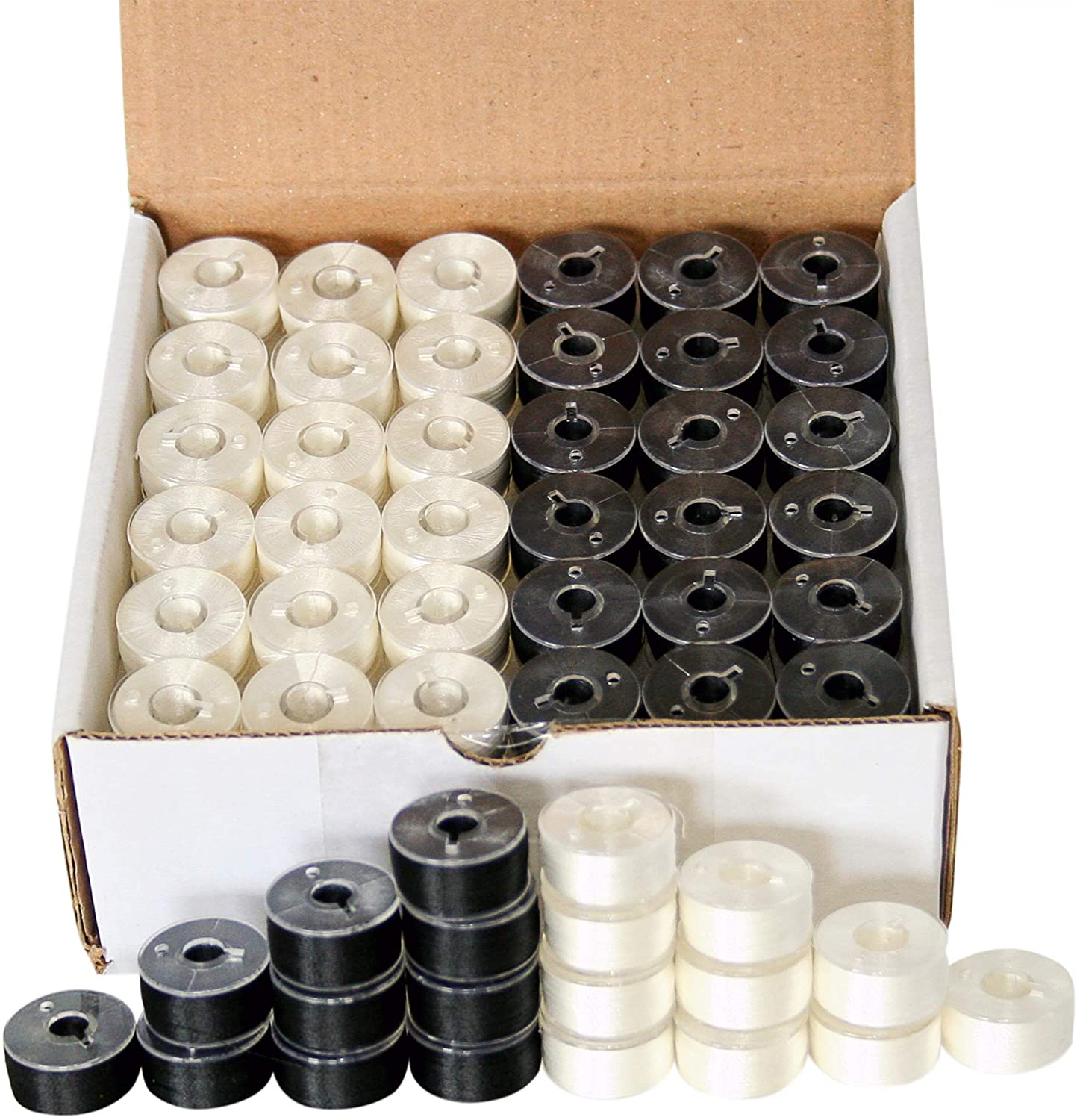 144 Black & White Pre-Wound Bobbins for Brother Embroidery Machines Compatible with PE-700, PE700II, PE-750D, PE-770, PE-780D, Innovis 1000,