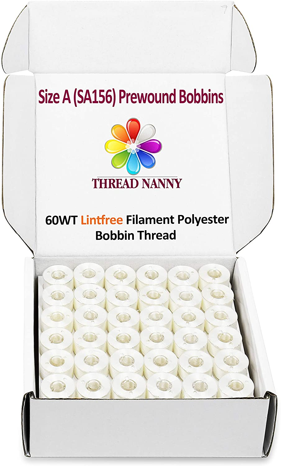 144 White PreWound Bobbins for Embroidery Machines Size A (SA156) Plastic Sided Compatible with Brother Babylock Janome Embroidery Machines