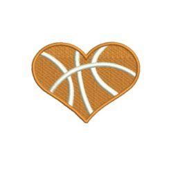 Basketball Heart Machine Embroidery Design