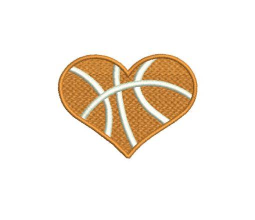 Basketball Heart Machine Embroidery Design