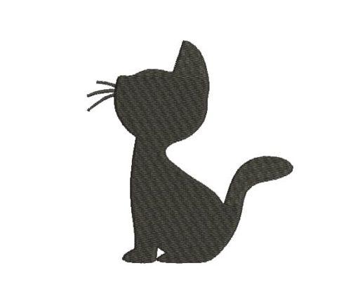 Cat Silhouette Machine Embroidery Design