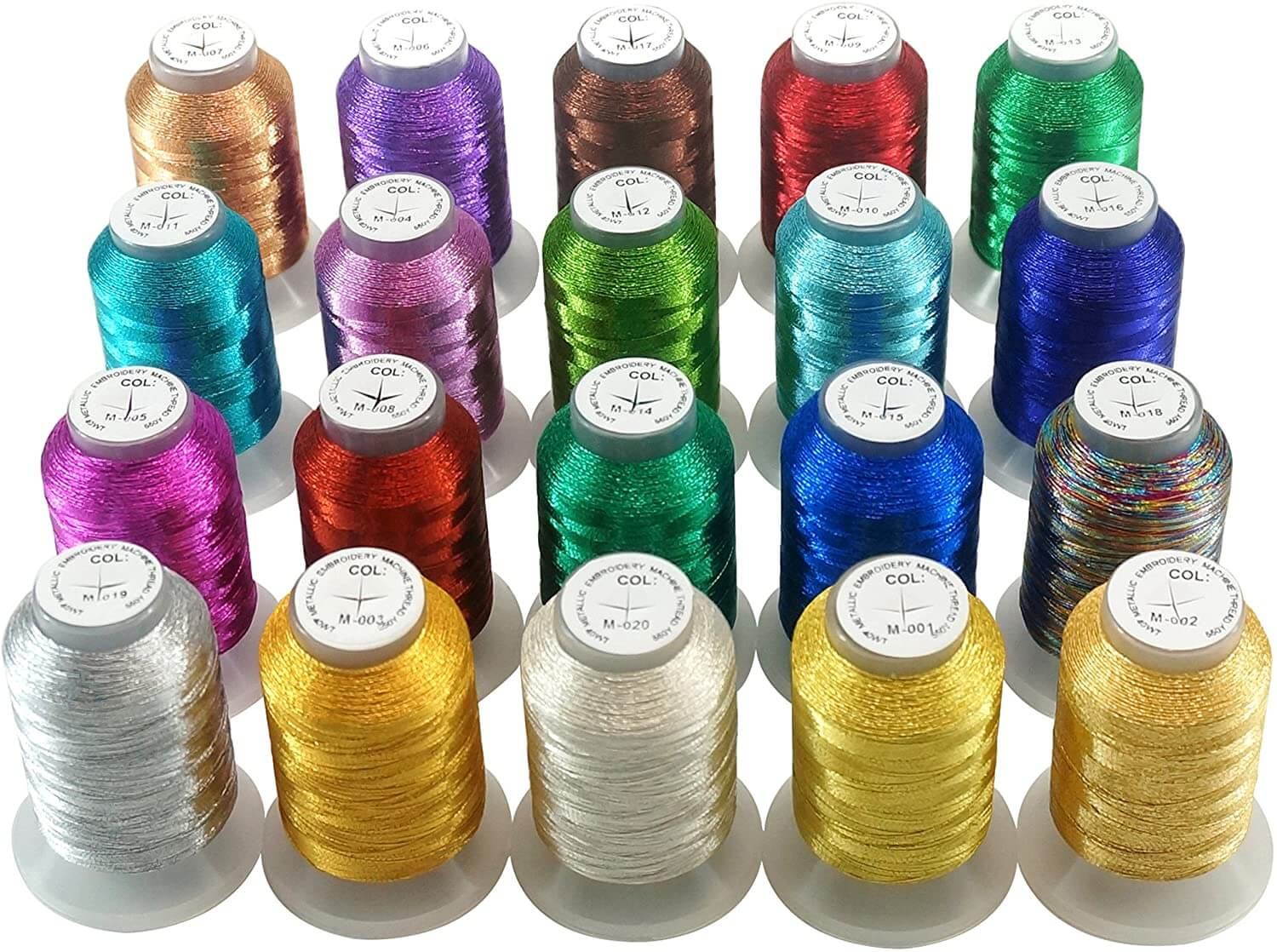 New brothread 20 Assorted Colours Metallic Machine Embroidery Thread