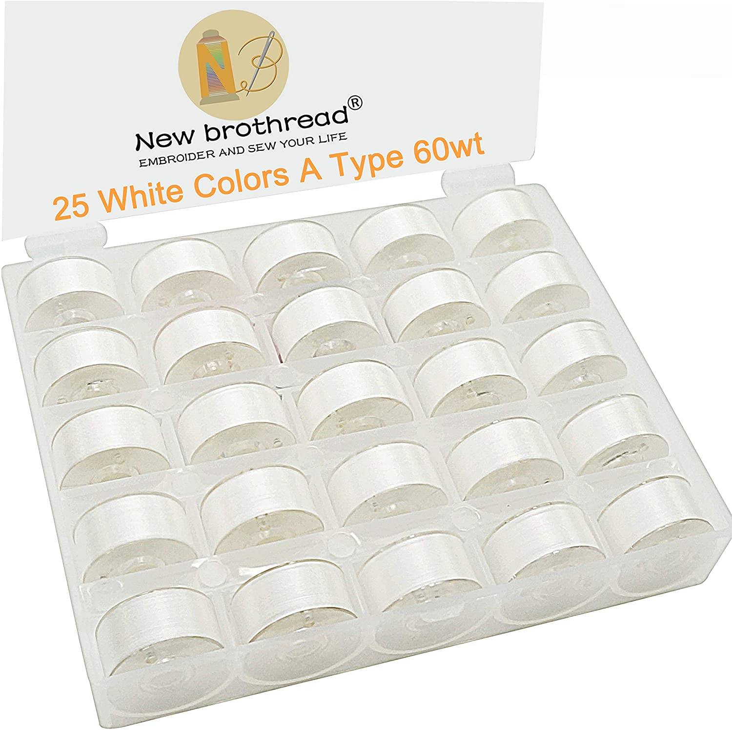 New brothread Prewound Bobbin Thread Plastic Size A SA156 for Embroidery and Sewing Machines