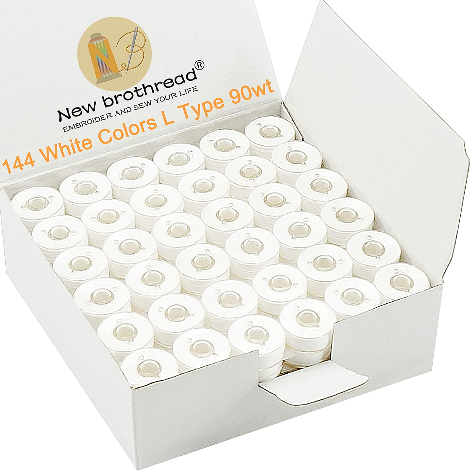 New brothread Prewound Bobbin Thread Plastic Size L for Embroidery and Sewing Machines