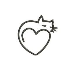 Cat Heart Machine Embroidery Design