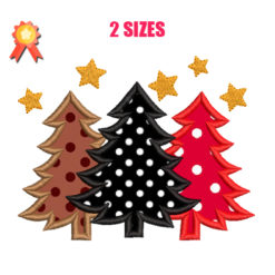 Applique Christmas Trees Machine Embroidery Design