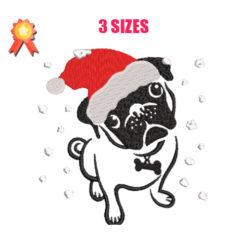 Christmas Pug Machine Embroidery Design