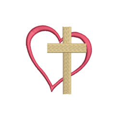 Mini Christian Cross Heart Machine Embroidery Design