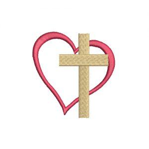 Mini Christian Cross Heart