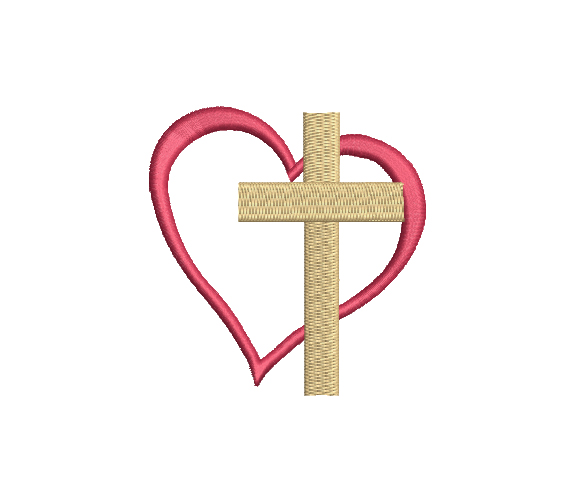 Mini Christian Cross Heart