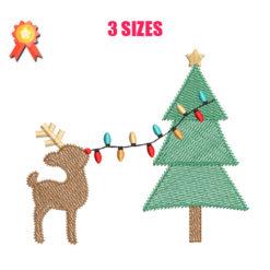 Reindeer Decorating Machine Embroidery Design