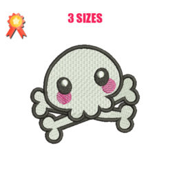 Blushed Skull Machine Embroidery Design