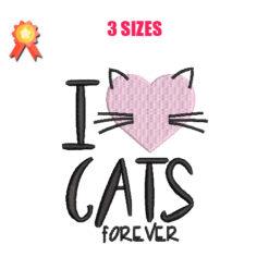 I Love Cats Machine Embroidery Design