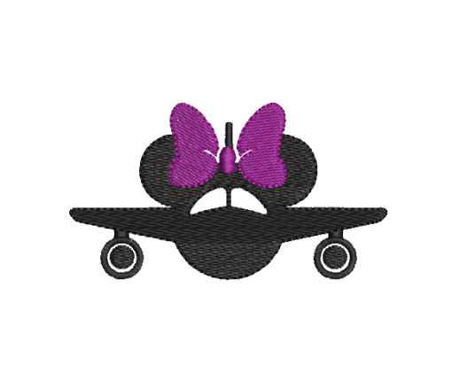 Airplane Minnie Mouse Machine Embroidery Design