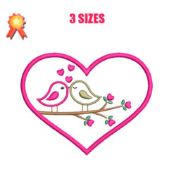 Birds In Love Machine Embroidery Design