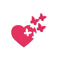 Heart With Butterfly Machine Embroidery Design
